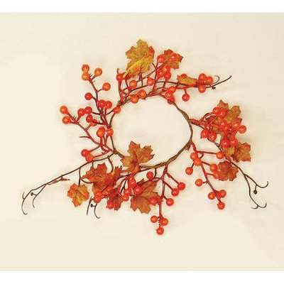 Worth Imports Maple Leaves/Berry Candle Ring (Set of 4)