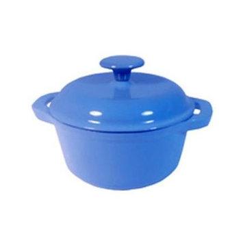 Le Chef 4 Piece Enamel Cast Iron France Blue Round Dutch Oven.