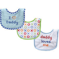 Baby Vision Luvable Friends 3 Count I Love Daddy Baby Bibs - Blue