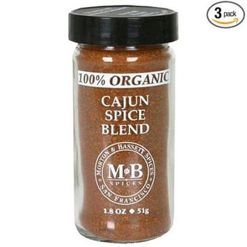 Morton And Bassett 100% Organic Seasoning - Cajun Spice Blend - 1.8 oz, (Pack of 3)