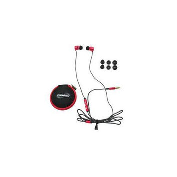MobileSpec MS52R Chords Noise Isolating Ear Buds with Mic Red