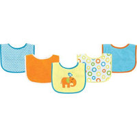 Baby Vision Luvable Friends 5 Pack Character Bibs with Waterproof Backing - Blue