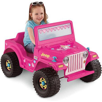 Fisher Price Fisher-Price Power Wheels Girls' Barbie Jeep 6-Volt Battery-Powered Ride-On