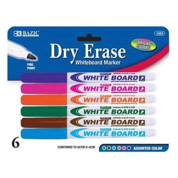 Bulk Buys BAZIC Fancy Color Fine Tip Dry-Erase Marker 6 Pack