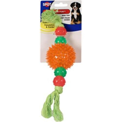 Spot Rainbow Fun Rubber And Rope Dog Toy