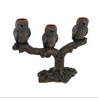 Zeckos Bronze Finish Triple Owls On Branch Taper Candle Holder