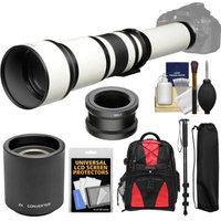 Vivitar 650-1300mm f/8-16 Telephoto Lens (White) (T Mount) with 2x Teleconverter (=2600mm) + Monopod + Backpack + Kit