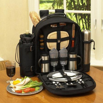 Picnic at Ascot Classic Coffee Backpack for Two, Black