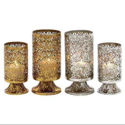 Benzara 66050 Classy Set of Two Assorted Metal Candle Holder
