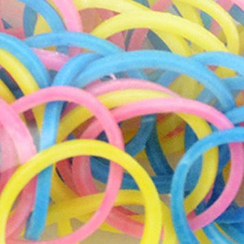 Midwest Design Imports Midwest Design LB505-82 Loom Bands with Clasps 100 Bands & 10 Clasps-Pkg-Glow In The Dark Assortment