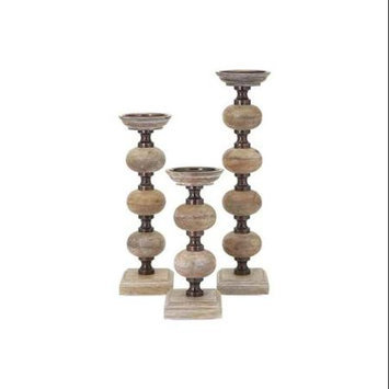 Imax Corporation Nahla Wood Candle Sticks - Set of 3