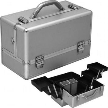 Hiker HK3201PPSL Silver Smooth 3-Tiers Accordion Trays Professional Makeup Train Case