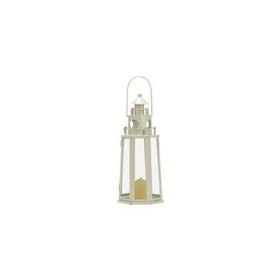 Koolekoo Lighthouse Ivory Metal Candle Lantern 11.75