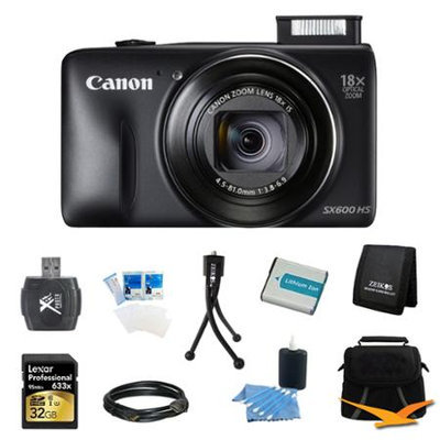 Canon PowerShot SX600 HS 16.1MP 18x Zoom 3-inch LCD Black Ultimate Kit