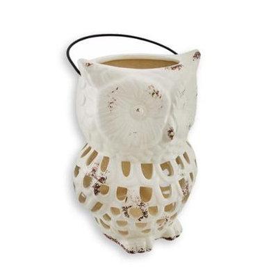 Zeckos Ceramic Owl Lantern Open Work Design White