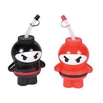 Fun Express 13629215 Plastic Ninja Molded Cups with Lids and Straws