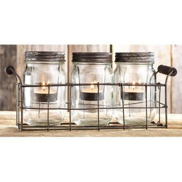 Home Essentials & Beyond Inc Home Essentials 3-piece Mason Jar & Votive Candle Caddy Set