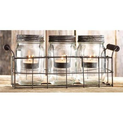 Home Essentials & Beyond Inc Home Essentials 3-piece Mason Jar & Votive Candle Caddy Set