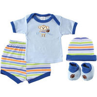 Luvable Friends Newborn Boys' 4 Piece Playtime Layette Gift Set