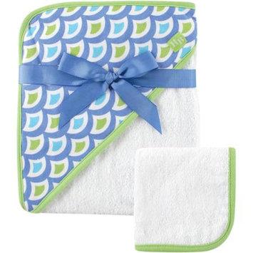 Baby Vision Hudson Baby Print Woven Hooded Towel and Washcloth - Boy, Green Wave Print