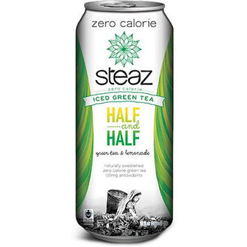 Steaz Half. and Half Zero Calorie Iced Green Tea, 16 fl oz, (Pack of 12)