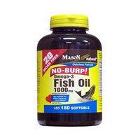 No Burp Omega-3 Fish Oil 1000 mg, 180 Softgels, Mason Natural