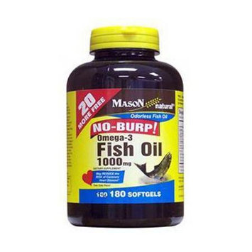 No Burp Omega-3 Fish Oil 1000 mg, 180 Softgels, Mason Natural