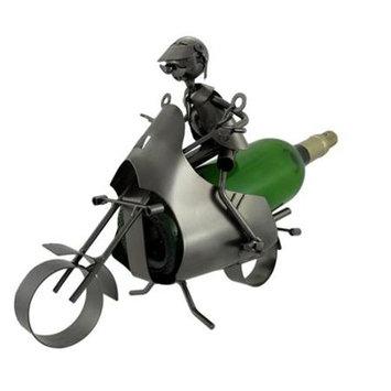 Zeckos Motorcyclist Metal Sculpture Wine Bottle Display
