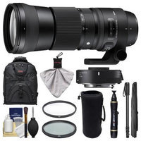 Sigma 150-600mm f/5.0-6.3 Contemporary DG OS HSM Lens & 1.4x Teleconverter (for Canon EOS) with Backpack + Lens Pouch + Monopod + 2 UV/CPL Filters + Kit