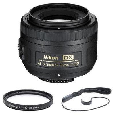 Nikon AF-S DX 35mm F/1.8G Lens w/ UV Filter, Hood & Cleaning Kit