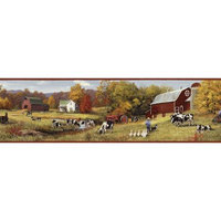 Brewster Home Fashions Borders by Chesapeake Herman Cow Pasture Portrait Border 0.57' x 180
