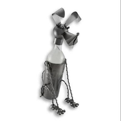 Zeckos Obedient Dog Metal Sculpture Wine Bottle Display
