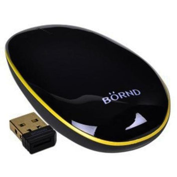 Bornd T100 2.4GHz Wireless Optical Ultra-Thin Touch Mouse w/Gold-Plated Nano USB Receiver (Black/Yellow)