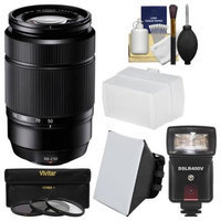 Fujifilm 50-230mm f/4.5-6.7 XC OIS Zoom Lens (Black) with Flash + Soft Box + Bounce Diffuser + 3 UV/CPL/ND8 Filters + Kit
