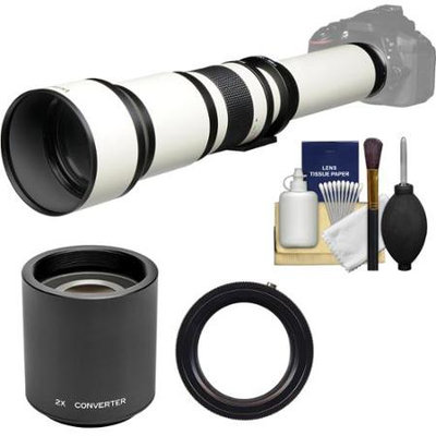Vivitar 650-1300mm f/8-16 Telephoto Lens (White) (T Mount) with 2x Teleconverter (=2600mm) + Kit