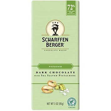 Scharffen Berger Chocolate Bar - Dark Chocolate - 72 Percent Cacao - Sea Salted Pistachios - 3 oz Bars, (Pack of 12)