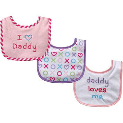 Baby Vision Luvable Friends 3 Count I Love Daddy Baby Bibs - Pink