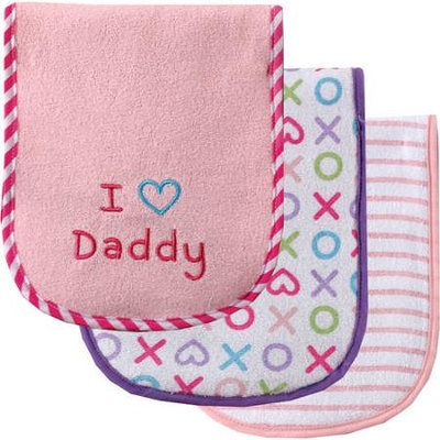 Baby Vision Luvable Friends 3 Count I Love Daddy Baby Burp Cloths - Pink