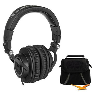 Audio-Technica ATH-M50 Professional Studio Monitor Headphones with Coiled Cable Deluxe Bundle