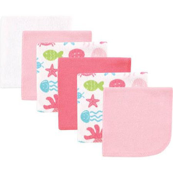 Baby Vision Luvable Friends 6 Pack Washcloths - Pink Sea Animals