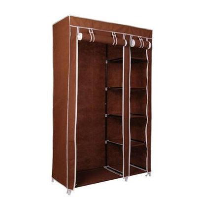 HomCom Portable Wardrobe Storage Hanger Closet Organizer w/ Shoe Rack - Coffee