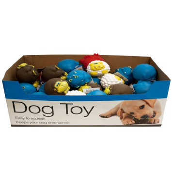 Kole Imports Bulk Buys Animal Characters Dog Squeak Toys Counter Top Display - Case 48