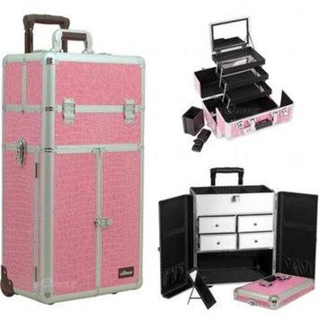 Sunrise Books Sunrise Outdoor Travel Pink Crocodile Trolley Makeup Case - I3565