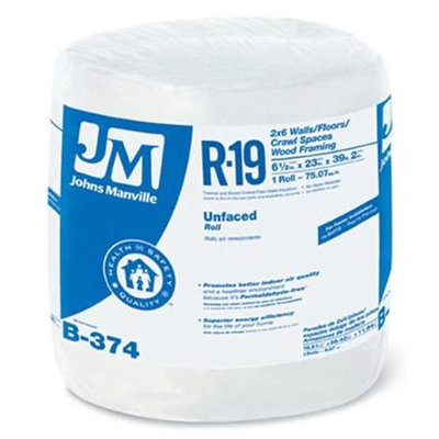 Johns Manville R19 23-in x 39.16-ft Unfaced Fiberglass Roll Insulation with Sound Barrier B374