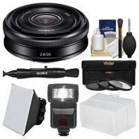 Sony Alpha E-Mount 20mm f/2.8 Wide-Angle Pancake Lens with Flash + Soft Box + Bounce Diffuser + 3 UV/CPL/ND8 Filters + Kit