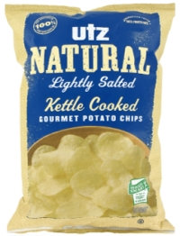 Utz Natural Lightly Salted Kettle Cooked Gluten Free Gourmet Potato Chips
