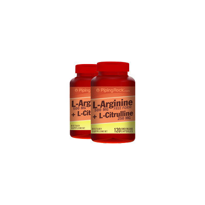 Piping Rock L-Arginine 500mg Citrulline 250mg 2 Bottles x 120 Capsules