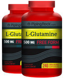 Piping Rock L-Glutamine 500 mg 2 Bottles x 240 Capsules