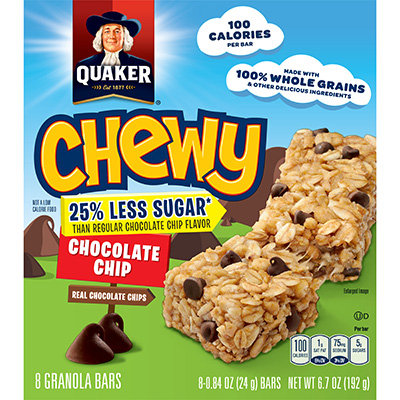 Quaker® 25% Less Sugar Chewy Granola Bars Chocolate Chip