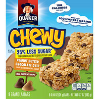 Quaker® 25% Less Sugar* Chewy Granola Bars Peanut Butter Chocolate Chip